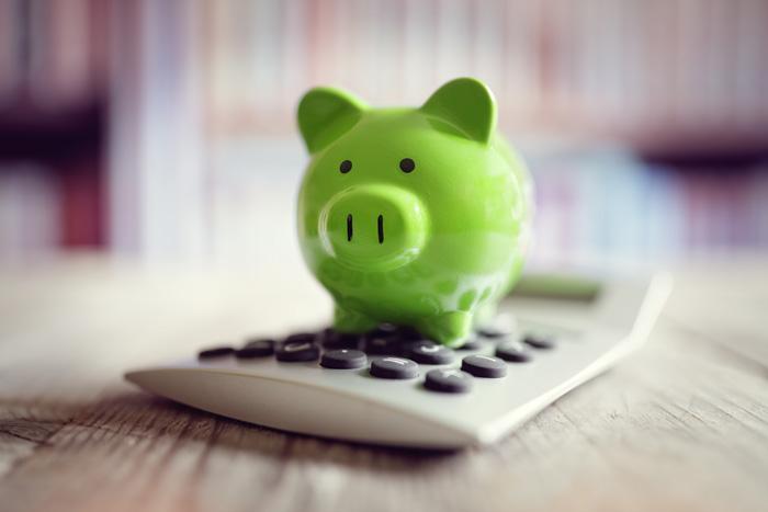 Sparschwein mit Taschenrechner zum Berechnen der Kosten für Hühnerhaltung